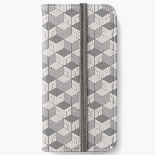 Traditional Japanese Geometric Kimono pattern, Grey Geometric Pattern, Japanese Haori Pattern iPhone Wallet