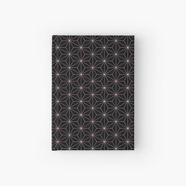 Traditional Japanese Asanoha Kimono pattern, Black And Pink Geometric Pattern, Japanese Haori Pattern Hardcover Journal