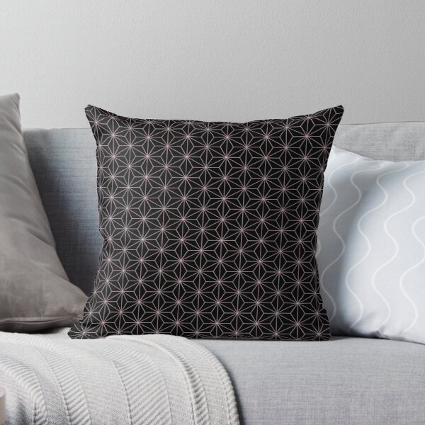 Traditional Japanese Asanoha Kimono pattern, Black And Pink Geometric Pattern, Japanese Haori Pattern Throw Pillow
