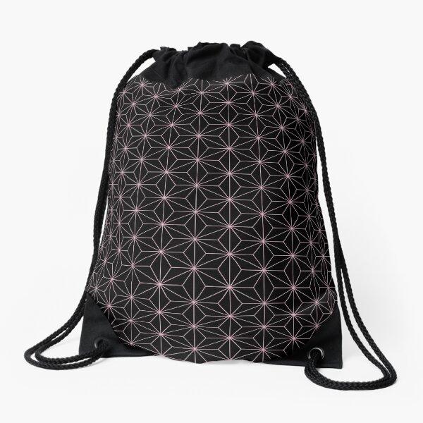 Traditional Japanese Asanoha Kimono pattern, Black And Pink Geometric Pattern, Japanese Haori Pattern Drawstring Bag