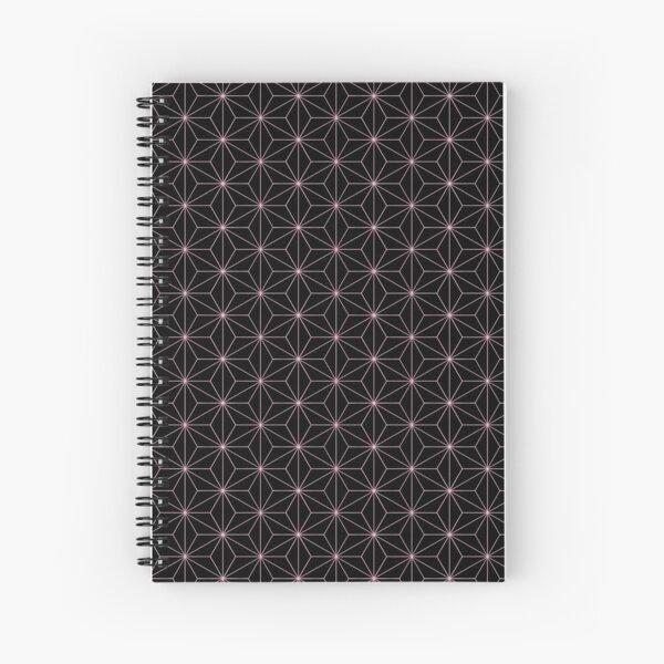 Traditional Japanese Asanoha Kimono pattern, Black And Pink Geometric Pattern, Japanese Haori Pattern Spiral Notebook