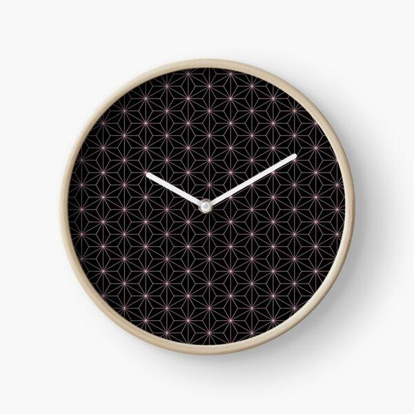 Traditional Japanese Asanoha Kimono pattern, Black And Pink Geometric Pattern, Japanese Haori Pattern Clock