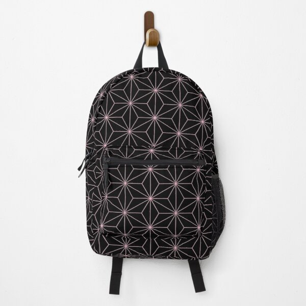 Traditional Japanese Asanoha Kimono pattern, Black And Pink Geometric Pattern, Japanese Haori Pattern Backpack