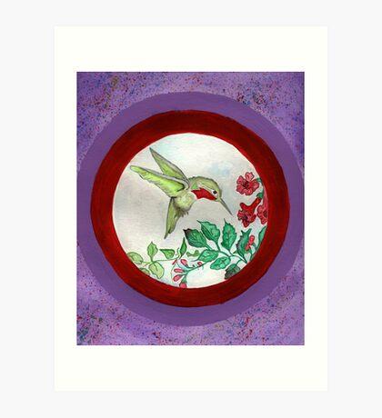 Humming Bird Circle Art Print