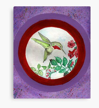 Humming Bird Circle Canvas Print