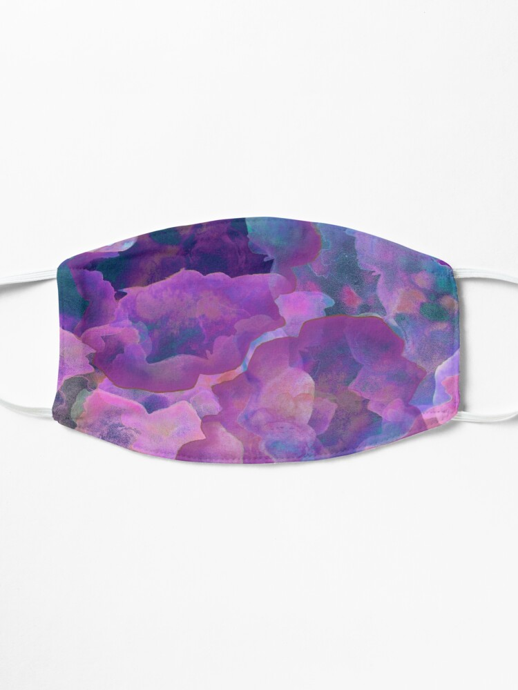 Alternate view of festival purple, boho, teal and purple abstract ink watercolor  clouds Mask
