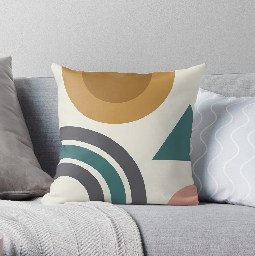 Abstract Geometric Shapes Throw Pillow