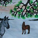 Horses in a snow covered meadow by George Hunter