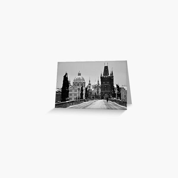 Prague, Charles Bridge, in Snow Greeting Card