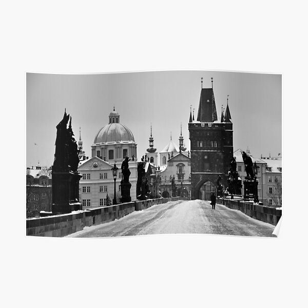 Prague, Charles Bridge, in Snow Poster