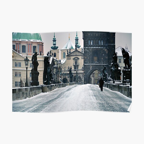 Snow on Prague's Charles Bridge with a hint of color Poster