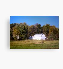 OLD WHITE BARN IN THE KNOBS OF INDIANA Canvas Print
