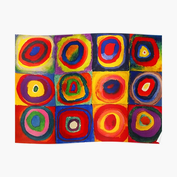 Kandinsky Color Study Squares With Concentric Circles Poster