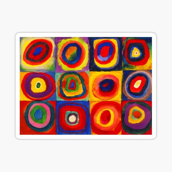 Carrés d'étude de couleur Kandinsky avec cercles concentriques Sticker