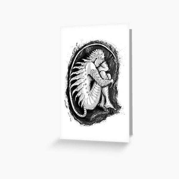 Rebirth - Comic Art Drawing of a Monster Embryo Greeting Card