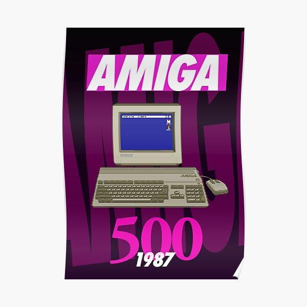 Amiga 500 Poster (1980s Wild Dark) - Pixel Art Original by Pixel Vixen Poster