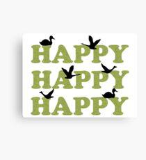 Green Digital Camo Happy Happy Happy Canvas Print