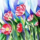 Poppy Field Square Quilt by Irina Sztukowski