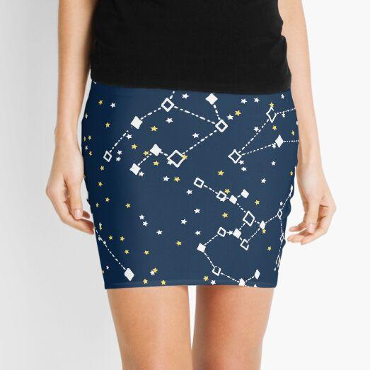 stars in the night sky black nebula blue Mini Skirt