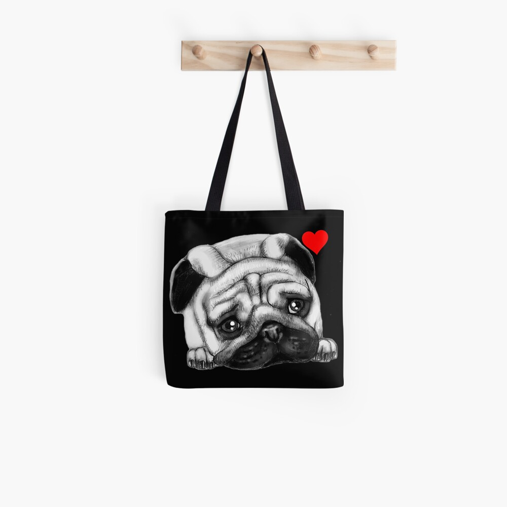 Cute Drawing Pug Face | DogFace | Dog Love Tote Bag