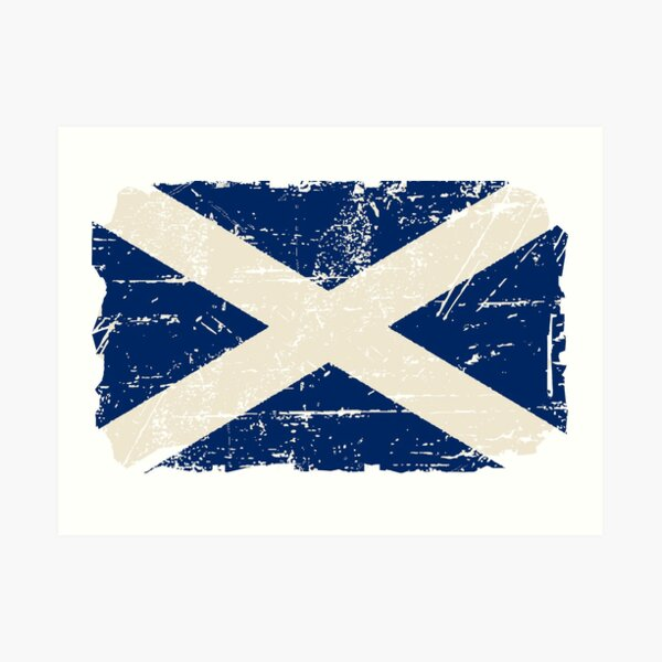 Scotland Flag - Vintage Look Art Print
