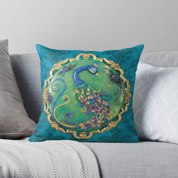 New Years Inspiration Blue - Peacock Art Throw Pillow