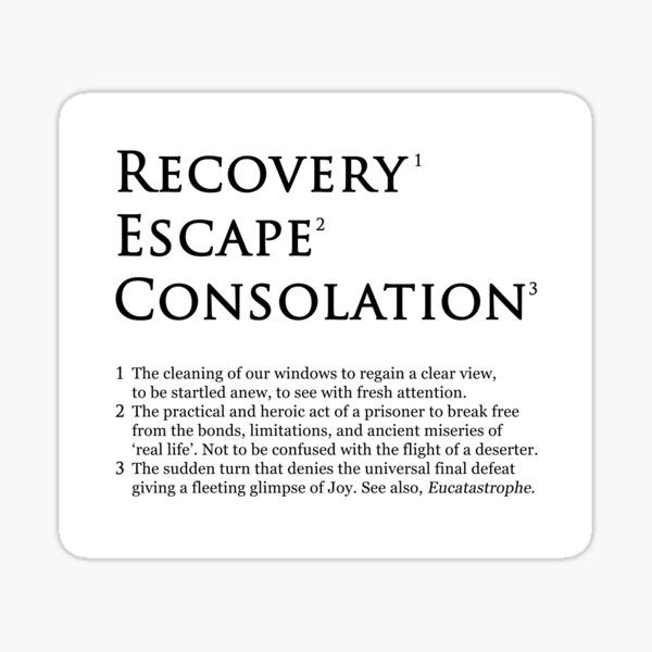 Recovery Escape Consolation Footnotes Sticker