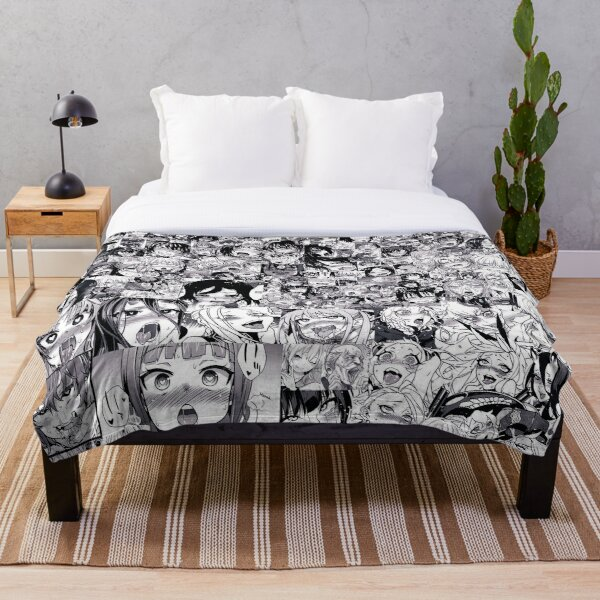 Ahegao collage (black and white) Throw Blanket