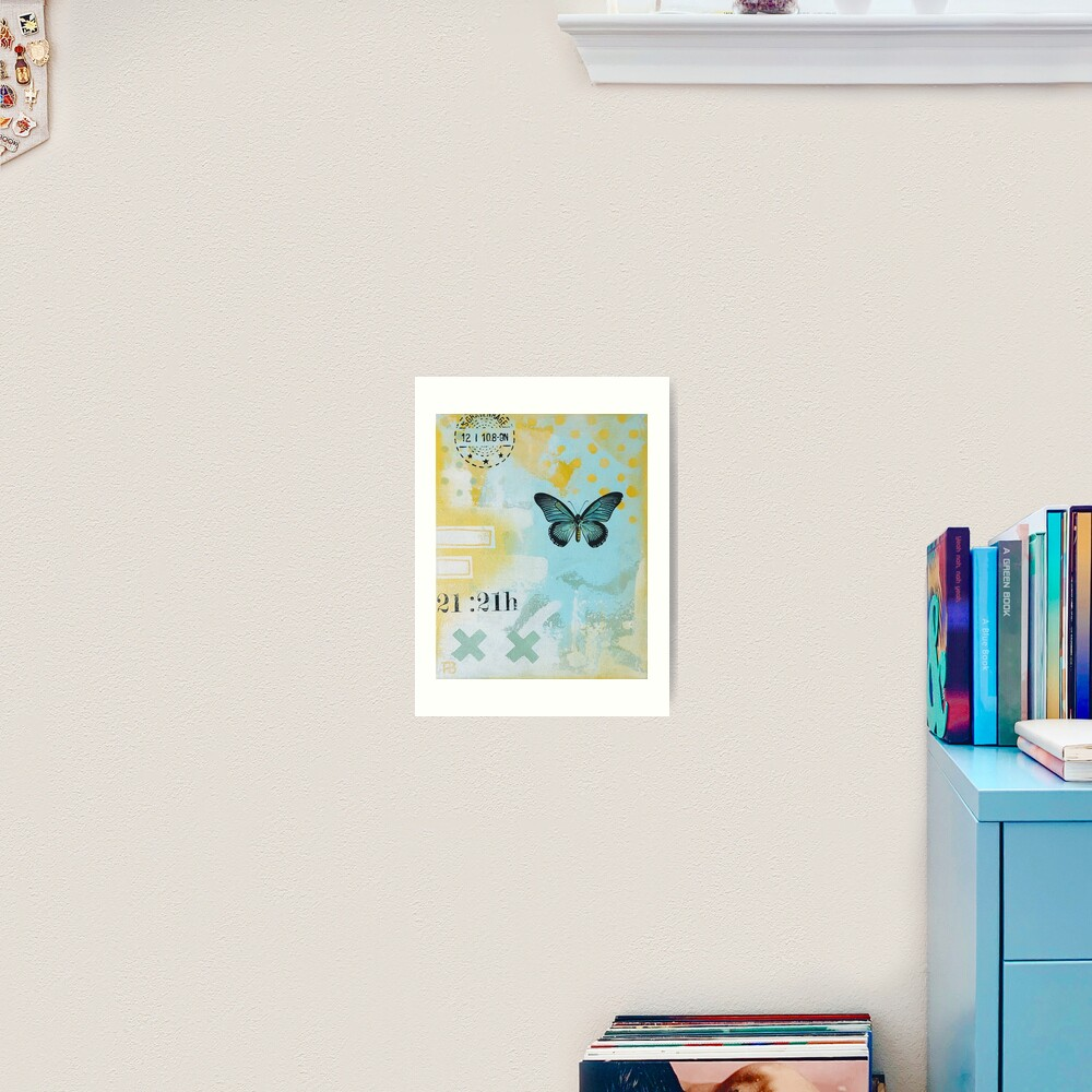 Picture of an original painting, green butterfly Art Print