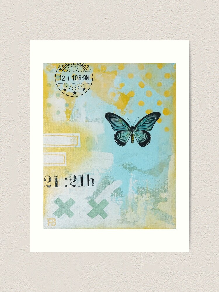 Alternate view of Picture of an original painting, green butterfly Art Print