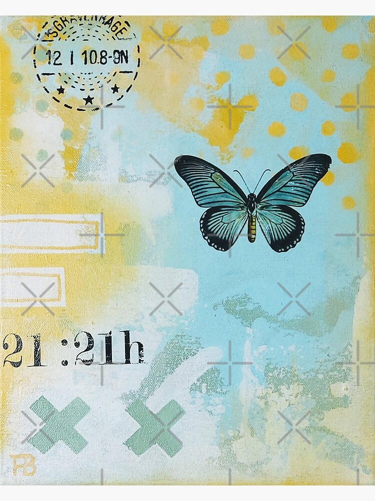 Picture of an original painting, green butterfly by ColorsHappiness