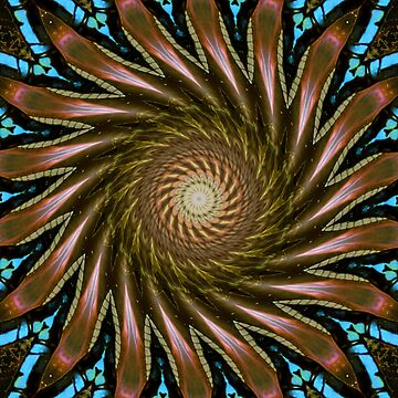 Brown and Blue Kaleidoscope, Mandala, Chakra by deleas