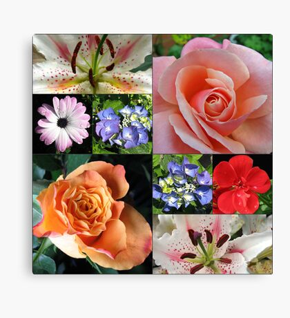 Floral Collage with Roses and Lilies Leinwanddruck
