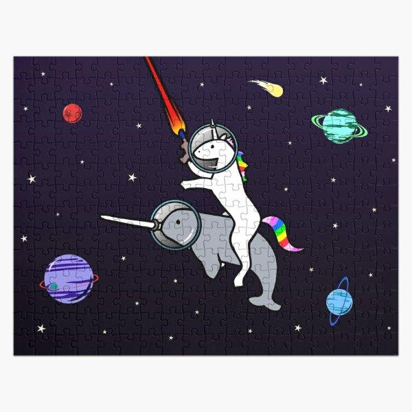 Unicornio montando narval en el espacio Puzzle