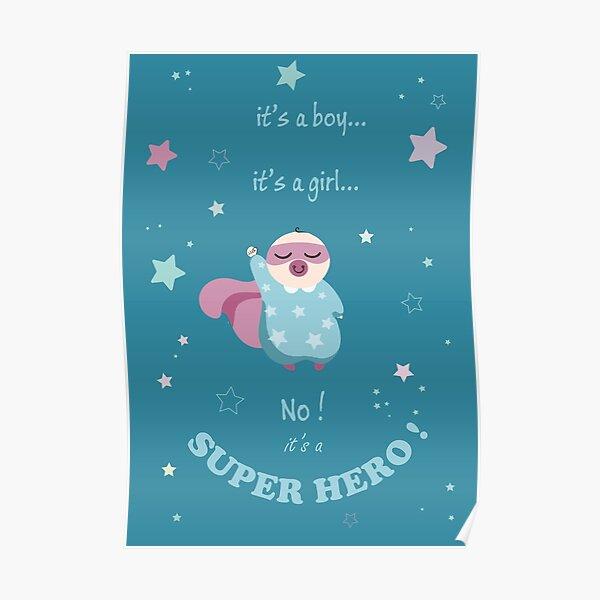 carte naissance - it's a superhero - sky Poster