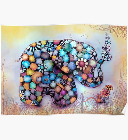 Little Sunshine the Patchwork Elephant Poster