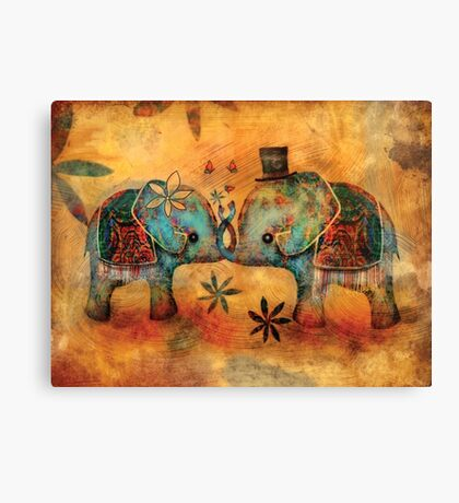 Vintage Elephants Canvas Print