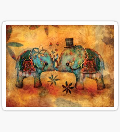 Vintage Elephants Sticker