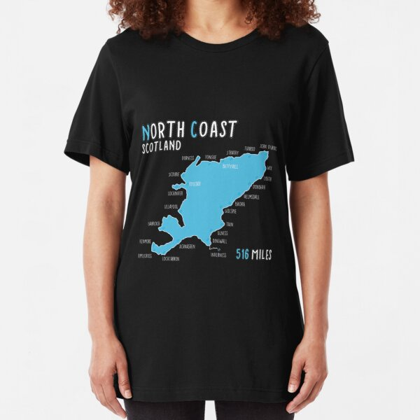 North Coast 500 Driving Route Map | Scotland | NC500 | 516 Miles Slim Fit T-Shirt