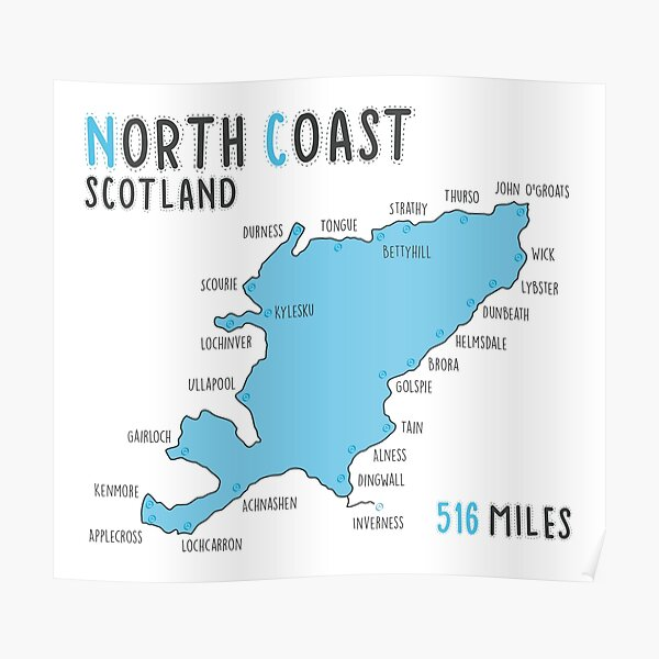 North Coast 500 Driving Route Map | Scotland | NC500 | 516 Miles Poster