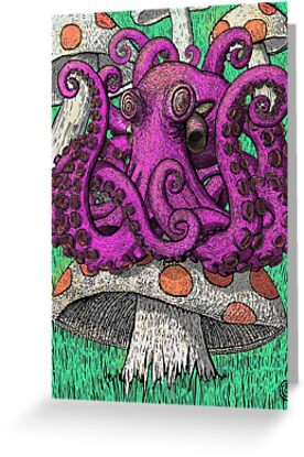 Octopus on Mushrooms by Paul Van de Carr