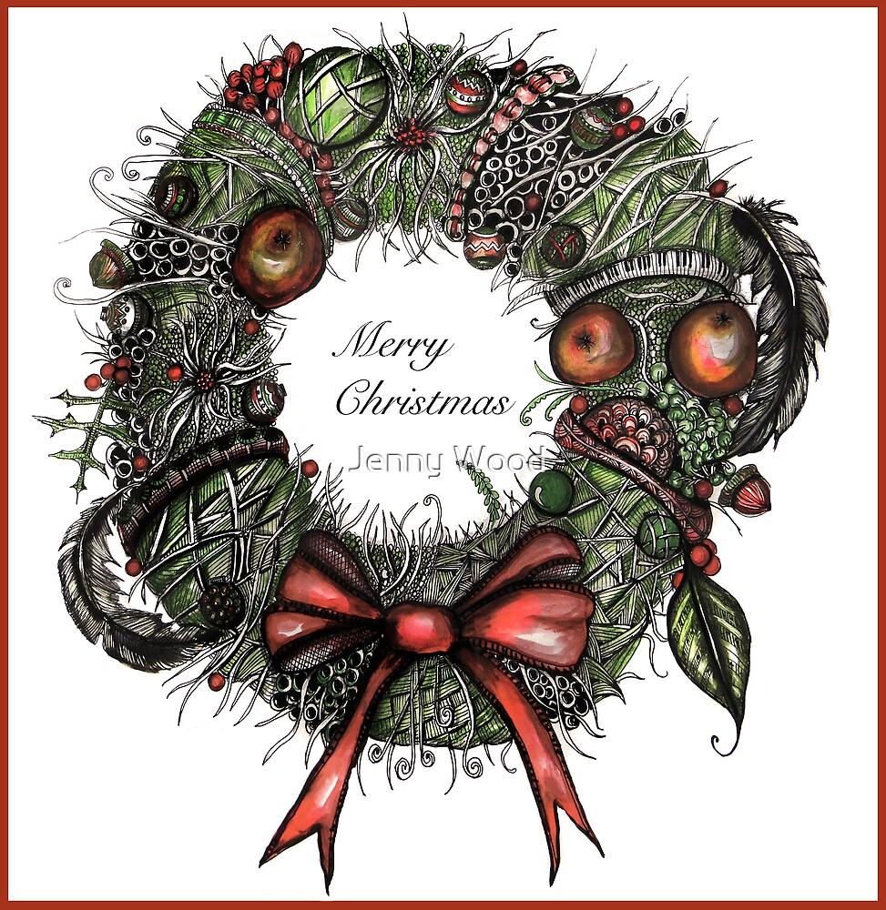 Christmas wreath card by Jenny Wood