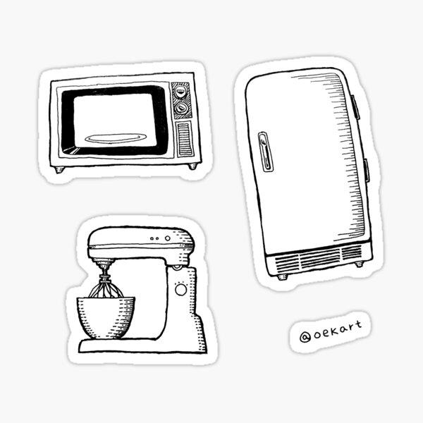Kitchen Equipment: Microwave, Fridge, Mixer  Sticker