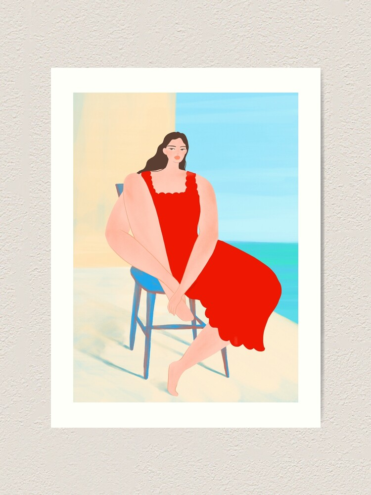 Alternate view of Summer Red Dress Art Print