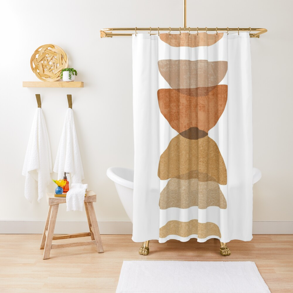 Warm abstract shapes Shower Curtain
