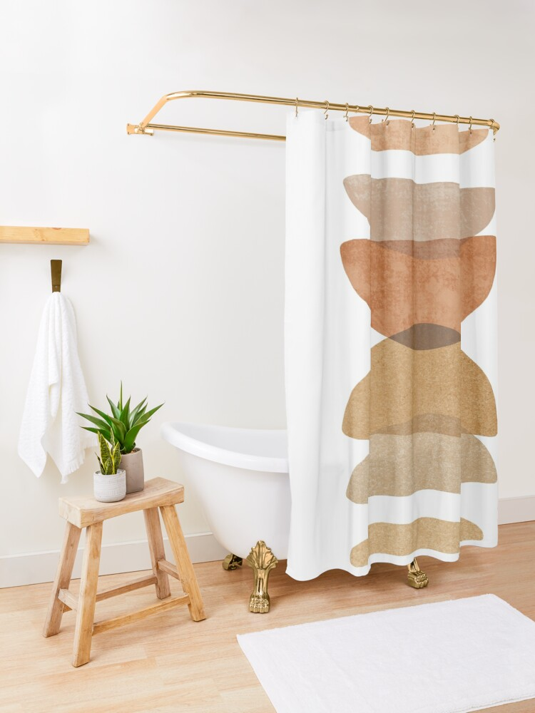 Alternate view of Warm abstract shapes Shower Curtain