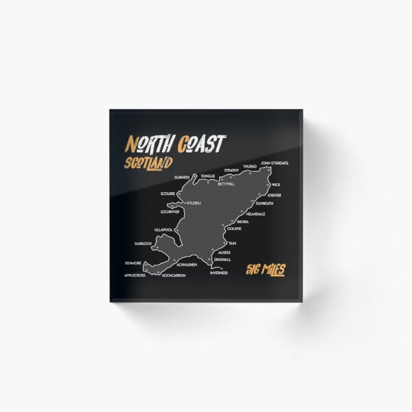 North Coast 500 Route Map| Scotland | NC500 | 516 Miles  Acrylic Block