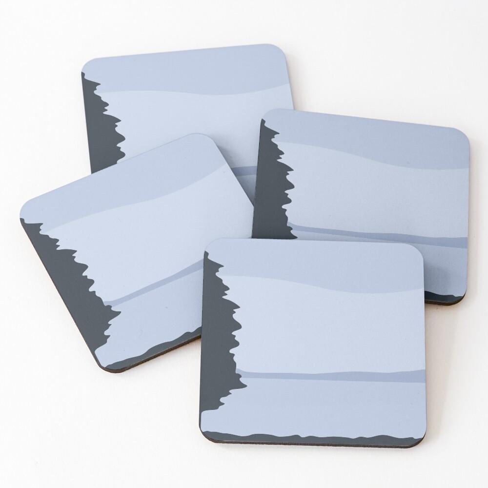 Minimalist Blue Sea/Lake View Coasters (Set of 4)