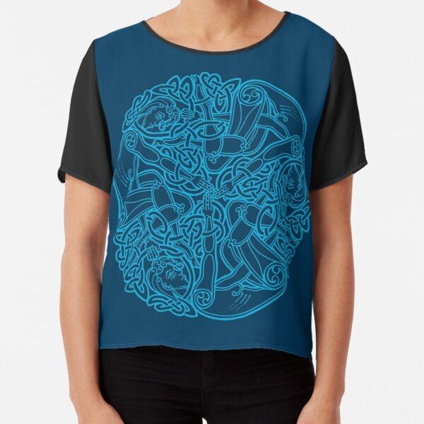 Celtic Triple Goddess - Blue Chiffon Top