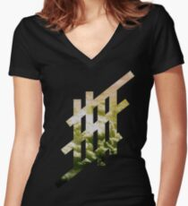 'Stripe'- Cloud Women's Fitted V-Neck T-Shirt